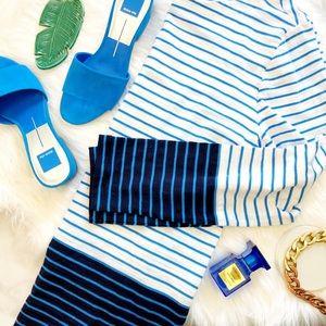 Gap Blue & White Striped Colorblock Boatneck Top